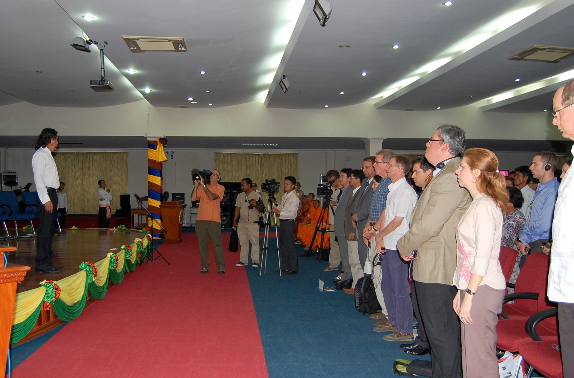 Khuon Sethisak singing national anthem at CJR public forum, 23 July 2010