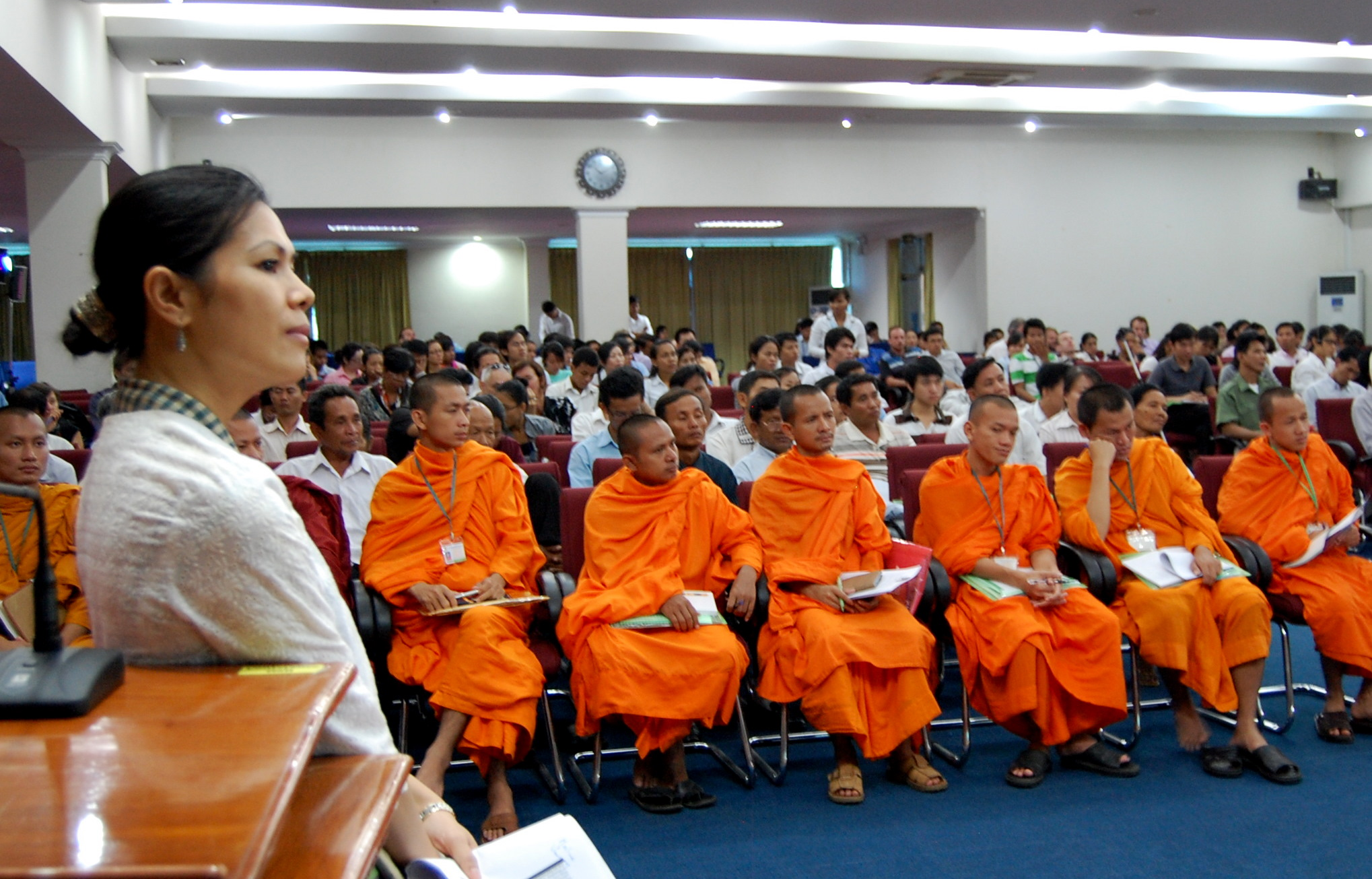 Theary Seng and monks at CJR public forum, 23 July 2010