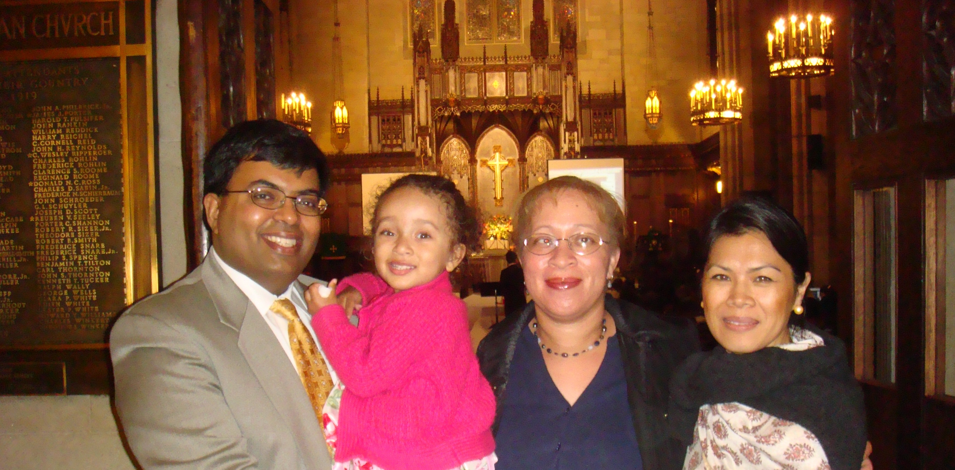 Theary Seng with Sybil, Kate and Indrajit Ponnambalam, Easter Service Central Park, April 2010