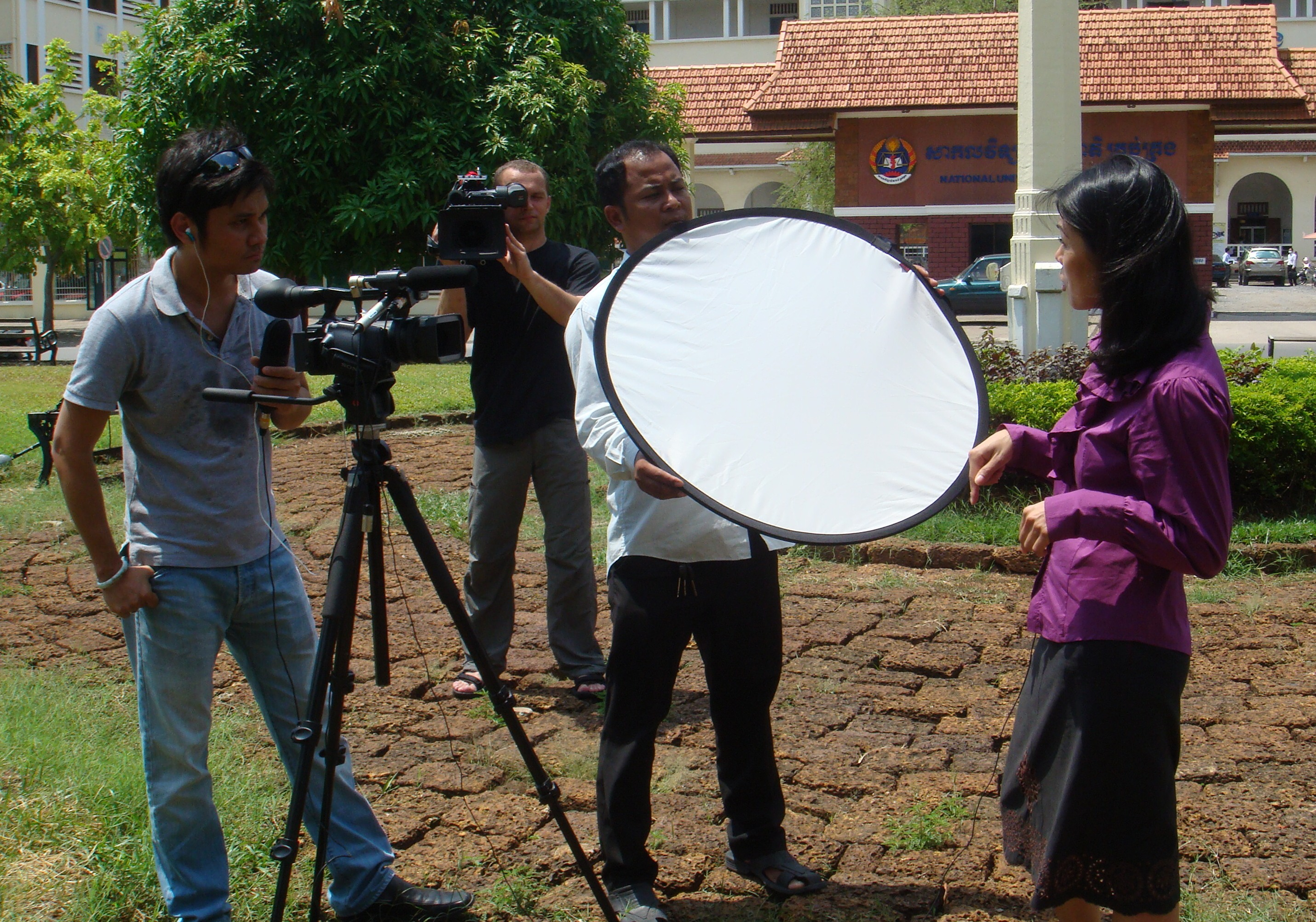 Theary Seng interviewed by Voice of Democracy Burma's Zor, who's being filmed by Dutch Film company, 21 April 2010