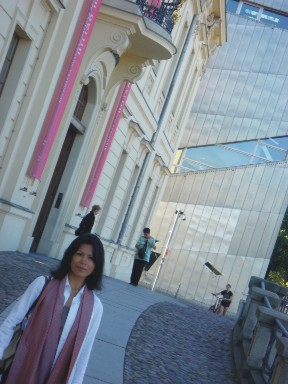 Theary Seng in Carol Cassidy Cambodian silk scarf at the Holocaust Museum in Berlin, Aug. 2009.