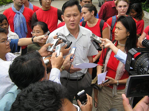 Theary Seng (pictured with ADHOC Ny Chakrya) organizing a Peace Vigil for Burma (Press Conference in front of Burmese Embassy in Phnom Penh, Sept. 2007)