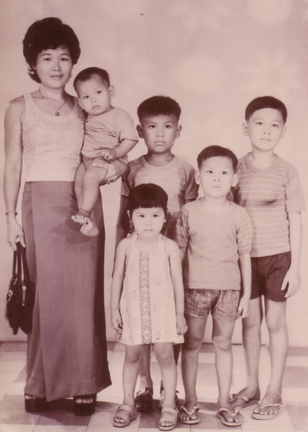 Theary Seng, her mom and four brothers, 1974