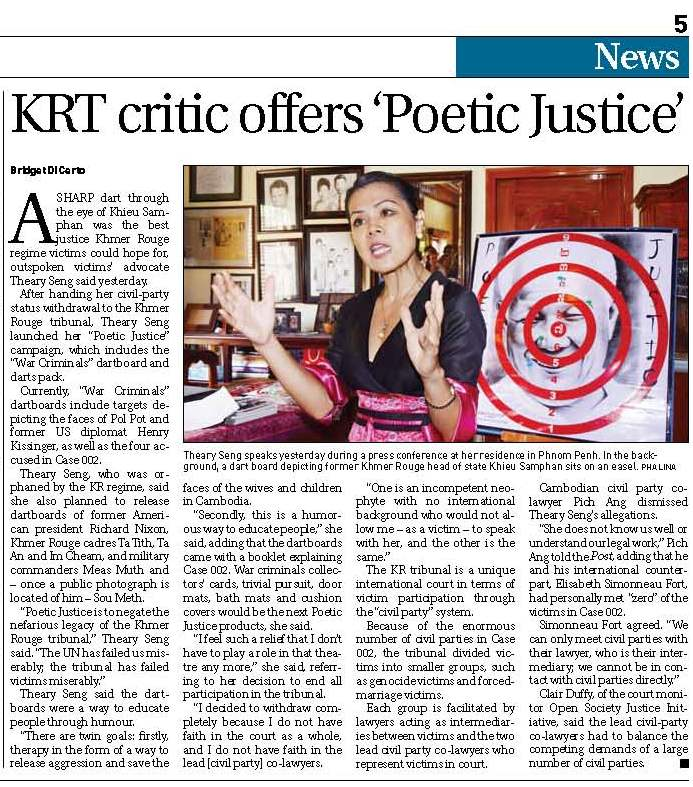 Theary Seng's Poetic Justice, Phnom Penh Post, 16 Nov. 2011