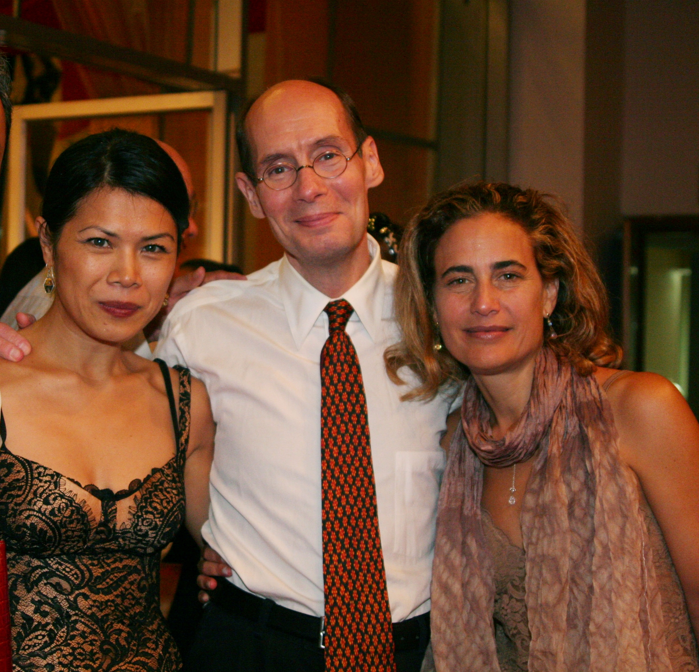 Theary Seng with John Daggett and librettist Catherine Filloux at premiere of Where Elephants Weep (Chenla Theatre, November 2007)