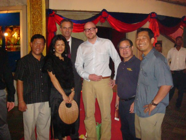 Theary Seng at Same Same But Different film premiere in Phnom Penh with producere Claus and Production designer Udo Kramer