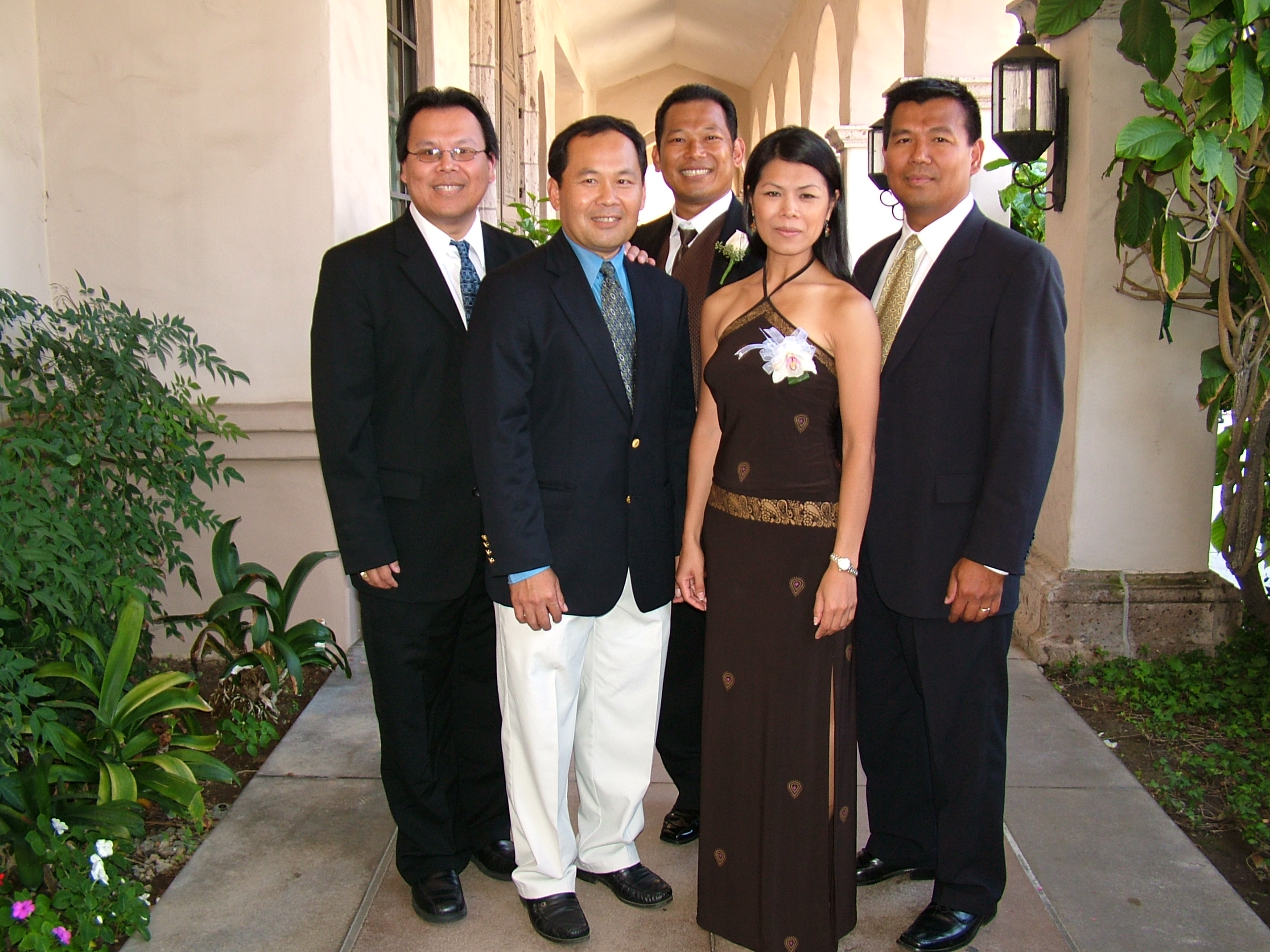 Theary Seng and brothers at Donald and Heidi Hok's wedding