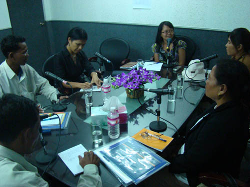 Theary Seng at the Voice of Justice radio studio with residents of Pailin