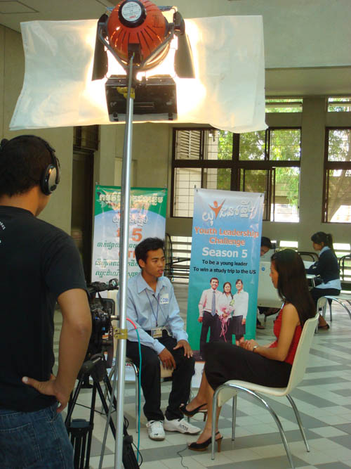 Theary Seng interviewing candidate for Youth Leadership Challenge 5th Season, January 2009